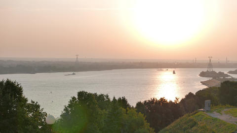 Morning on the Volga River. Cable car through the river. Nizhny Novgorod Footage
