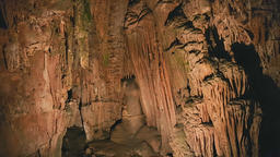 Tilt up ancient rock formation drapes on the wall of Saeva Cave, Bulgaria, rock Footage