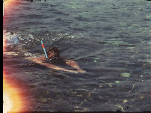 Father snorkeling Footage