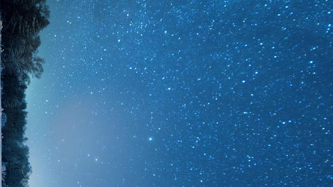 Vertical video. The starry sky revolves around the polar star. Snow-covered Footage