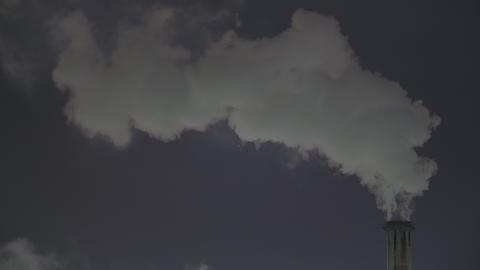 Factory zone night view - Smoke from chimney ビデオ