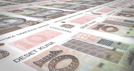 Banknotes of ten croatian kunas of Croatia, cash money, loop Animation