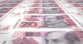 Banknotes of twenty croatian kunas of Croatia, cash money, loop Animation