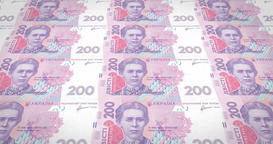 Banknotes of two hundred Ukrainian hryvni of Ukraine, cash money, loop Animation