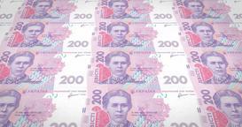 Banknotes of two hundred Ukrainian hryvni of Ukraine, cash money, loop Animation