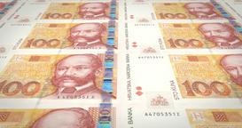Banknotes of one hundred croatian kunas of Croatia, cash money, loop Animation