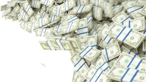 US dollar bundles flow with slow motion. alpha CG動画素材