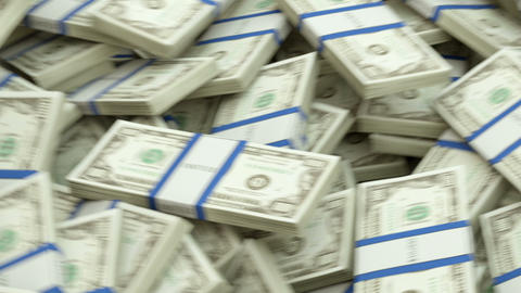 US dollar bundles flow with slow motion. alpha Animation