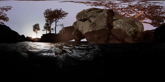 vr 360 camera moving near rocky island with pine trees in ocean. ready for use Video de realidad virtual (RV) en 360°