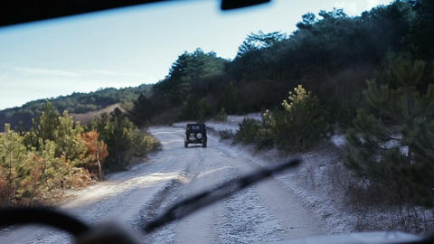 Driving off-road old-fashioned vehicle. Driving old-fashioned off-road jeeps Footage