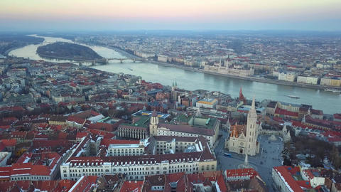 Aerial 4K drone footage of the skyline view of Budapest with Matthias Church Footage
