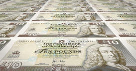 Banknotes of ten scottish pounds of Scotland, cash money, loop Animation
