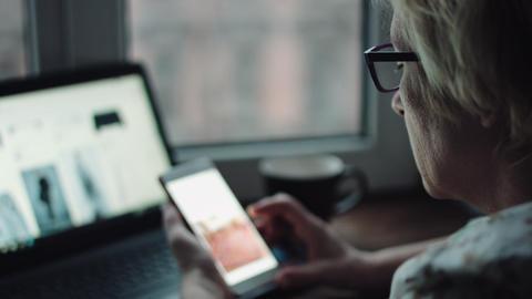 Woman work on laptop Footage