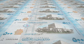 Banknotes of five hundred Syrian pounds of Syria, cash money, loop Animation