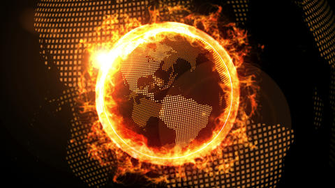 World Global Network Over the Earth With Rival Company Fire, CG Animation, Loop Animation
