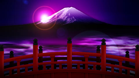 Scenery of Red Bridge Cross at Mount Fuji, CG Animation, Loop Animation