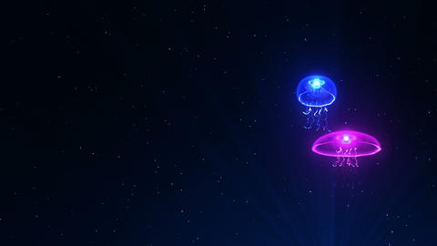 Jellyfish Illuminated With Color Light In The Underwater, CG Animation, Loop Animation