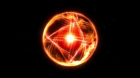 Plasma Fire Ball on Black Background, CG Animation, Loop Animation