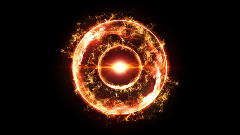 Plasma Fire Ball on Black Background, CG Animation, Loop Animation