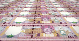 Banknotes of fifty omani rials of Oman rolling, coins of the world, loop Animation