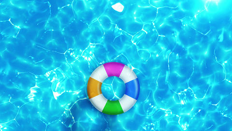 Swimming pool top view, CG animation, Pool float Animation