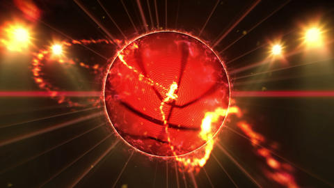 Basketball, Illuminated bright color spotlights, In night scene Animation