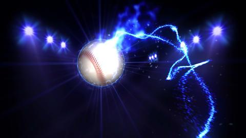 Baseball, Illuminated bright blue color spotlights, In night scene Animation