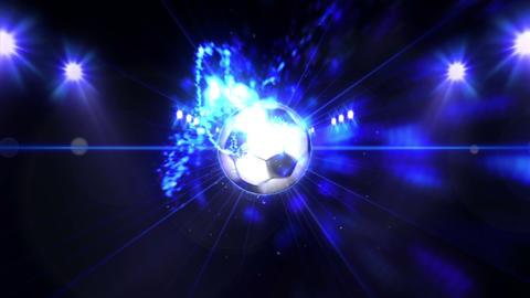 Soccer ball, Illuminated bright color spotlights, In night scene Animation