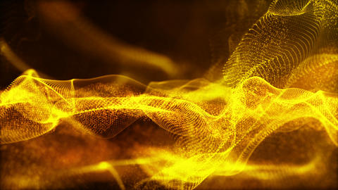 Abstract digital sparkling gold particles wave flow background Animation