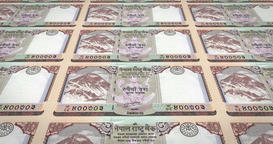 Banknotes of ten nepalese rupee of Nepal, cash money, loop Animation
