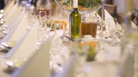 Decorated wedding table. Wedding reception venue with flowers Footage