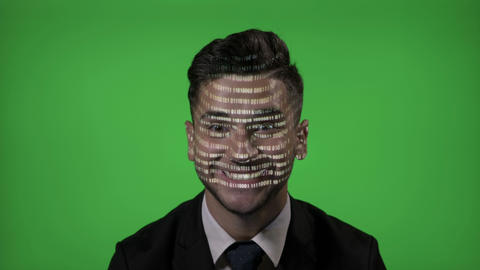 Happy smiling male computer hacker dressed in formal clothes using futuristic Footage