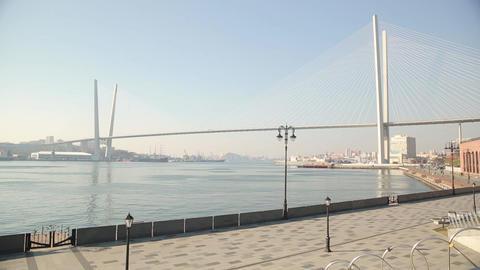 Golden Bridge in Vladivostok Footage