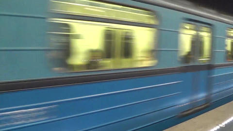 Moscow subway train Footage