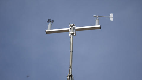 Meteostation Detecting Wind Speed and Direction Footage