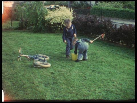 Toddlers gardening Footage