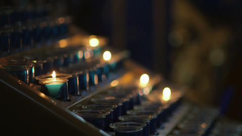 Lit Candles In church Footage