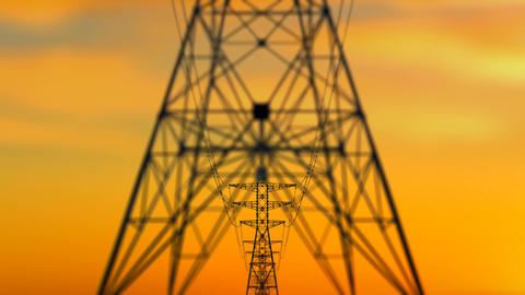 Approaching Electricity Towers at Sunset Animation