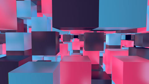 3D Multicolored Cubes in a Cyberspace Animation