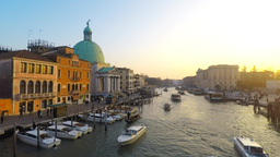 Traditional Gondolas at Venice Rialto grand canal Footage