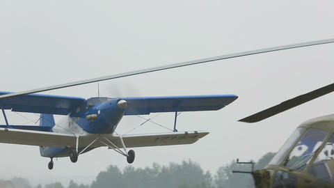Antonov-2 biplane taking off Footage