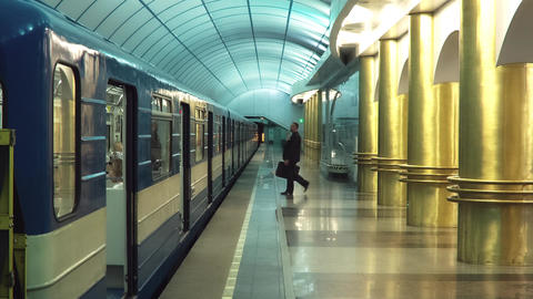 Businessman Walks Into A Underground Carriage Footage