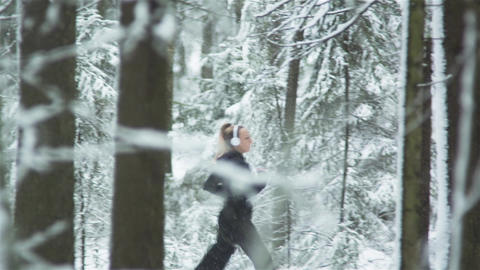 Fitness Running Woman In Winter Footage