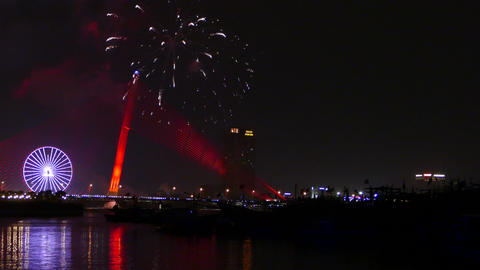 Fireworks Celebrating Chinese New Year In Da Nang stock footage