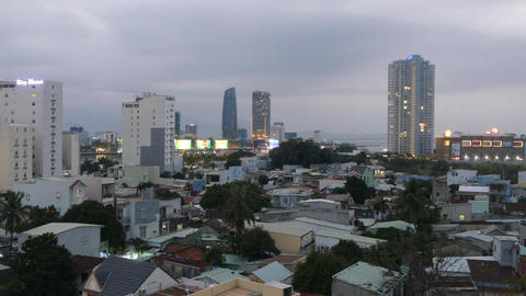Time lapse from day to night cityscape in Da Nang Footage