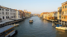 Time lapse of Gondolas in a Grand Venice canal Footage
