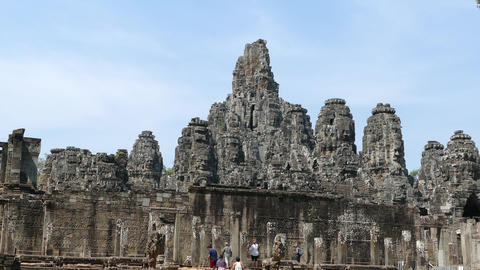 Tourists at the Bayon Khmer temple Footage