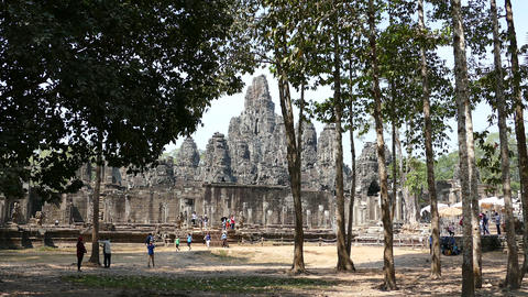 Tourists around the Bayon Khmer temple Footage