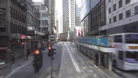Hong Kong from double-decker tram, timelapse Archivo