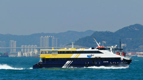 High-speed ferry boat in the harbor of Hong Kong Footage